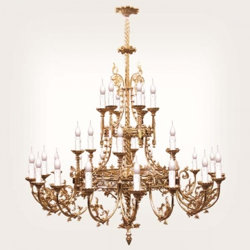 <b>ZD 11</b>Chandelier Neogothic style, 30 candles, width ~ 125 cm