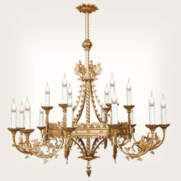 <b>ZD 12a</b>Chandelier Neogothic style , 18 candles, width ~ 125 cm