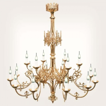 <b>ZD 06</b>Chandelier Gothic style, 18 candles, width ~ 95 cm